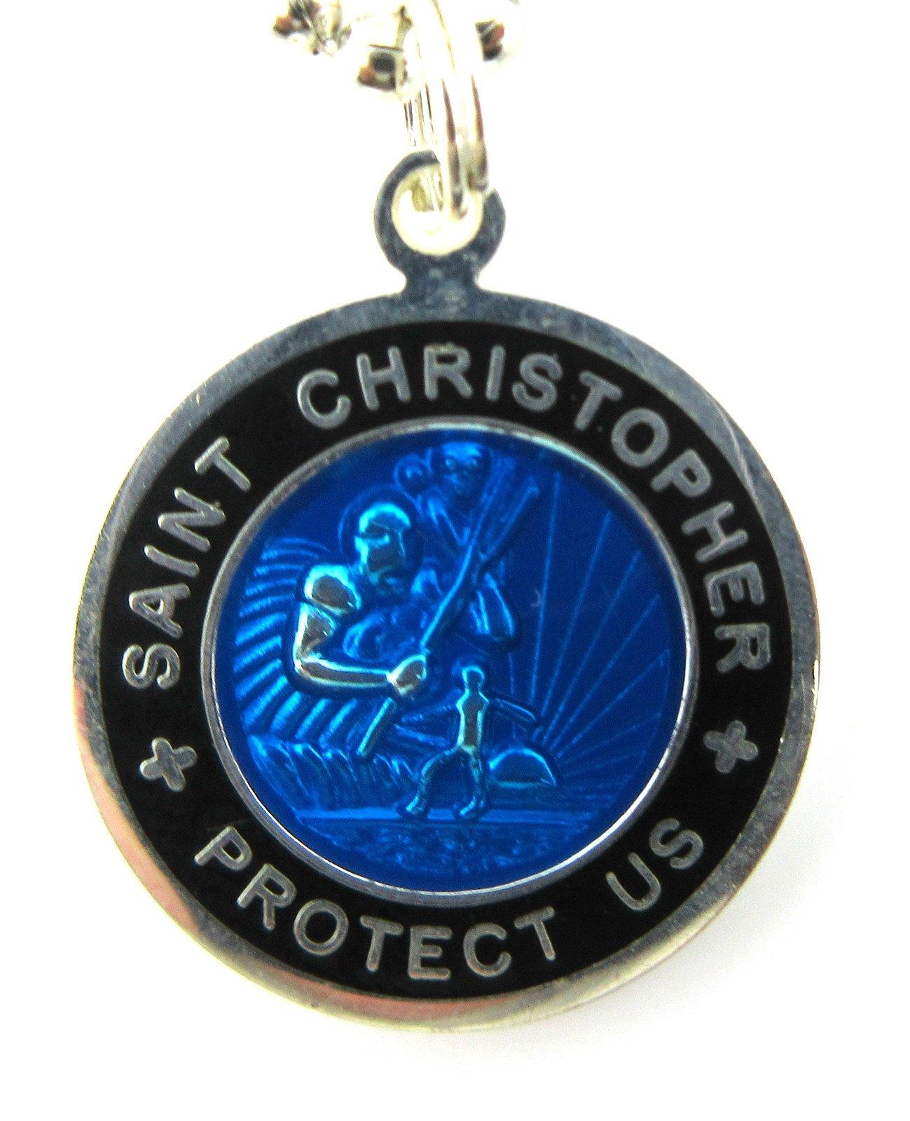 St Christopher Surf Medal Pendant Necklace,Royal Blue/Black (RB/BK) Medium by Get Back Designs