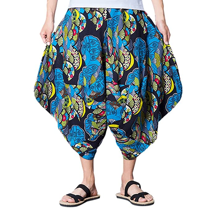Zhhlinyuan Hombres Adolescentes Loose Transpirable Lino Thai Shorts Hippie Casual Harem Pants Playa Fancy Pants,
