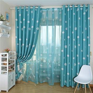 LianLe Vorhang Gardine Mit Ösen Weiße Wolken Muster Blickdicht Schlaufenschal  Wohnzimmer Schlafzimmer Deko (C: