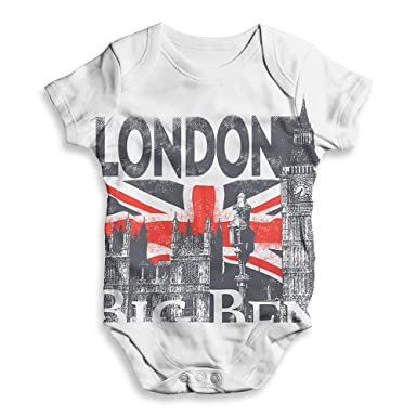 6d6091f4310e TWISTED ENVY Funny Infant Baby Bodysuit Romper London Big Ben and Union Jack  White 0-