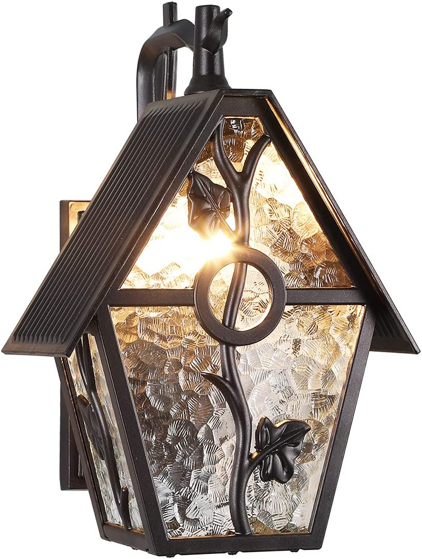 Garden Rustic Farmhouse Outdoor Wall Lantern Exterior Wall Mounted Sconce Light Designer Style Outdoor Wall Light Fixtures for Home,Patio,Garage,Porch Lighting with Water Glass, Oil Rubbed Brown