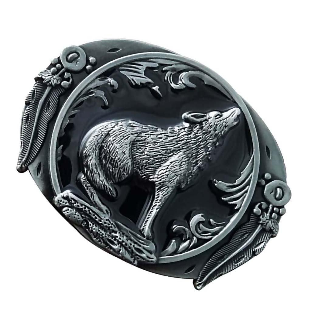 Homyl Western Howling Wolf Metal Fashion Belt Buckle Mechanical Belt Buckle