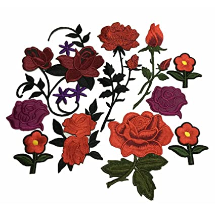 8142684f755010 Image Unavailable. Image not available for. Color  10pcs Red Rose  Embroidered Iron On Patch Sewing Fabric Flower Applique Supplies