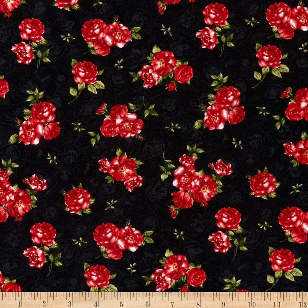 Timeless Treasures Garden Rose Small Rose Bouquets Black Quilt Fabric By The Yard