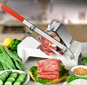 Manual Meat Slicer, Stainless Steel Meat Cutter Lamb Beef Mutton Roll Meat Cheese Food Slicer Vegetable Sushi Sheet Slicing Machine for Home Cooking Kit of Hot Pot with Spare Blade