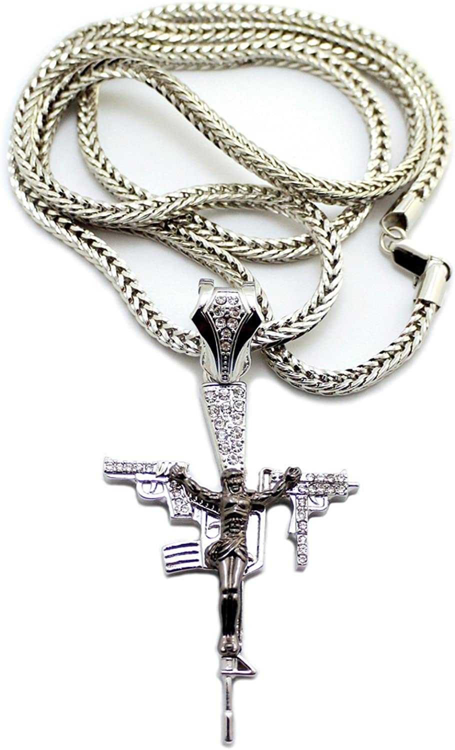 NYFASHION101 Iced Out Crucifixion Cross Pendant 4mm 36 Franco Chain Necklace Black