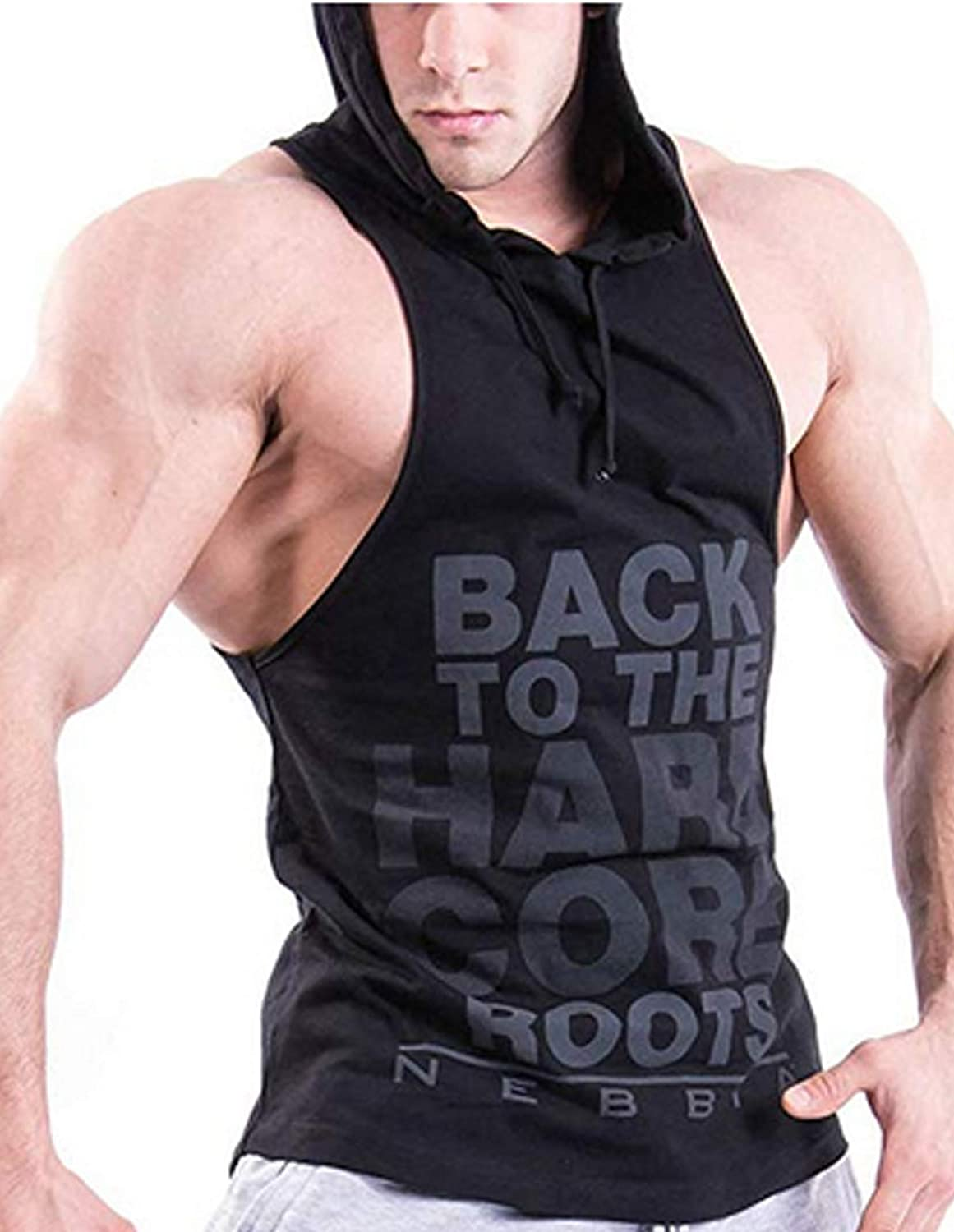 Men's Sleeveless Hoodie Stringer Fitness Bodybuilding Workout Hooded Tank Tops with Pocket