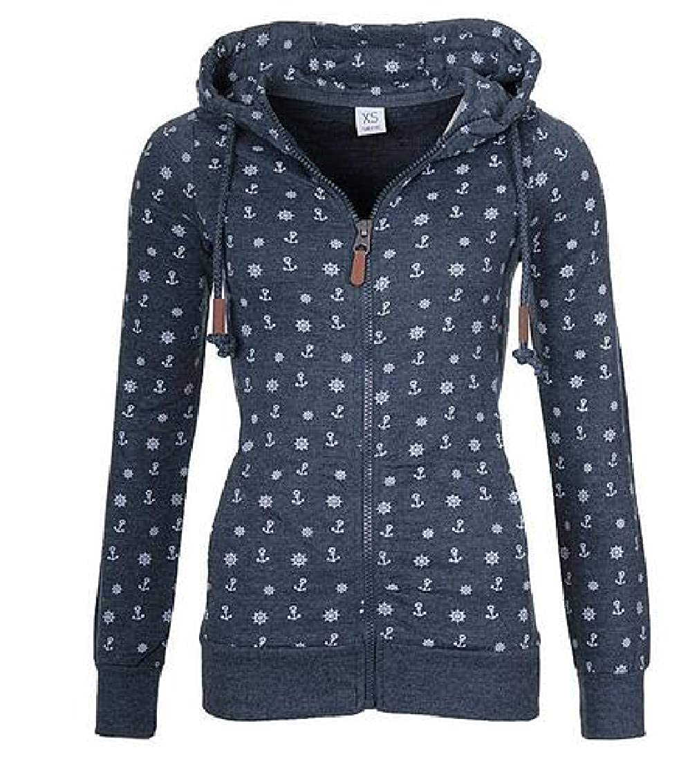 UUYUK Women Long Sleeve Printed Hoodies Zip-Up Fleece Sweatshirt with Pockets