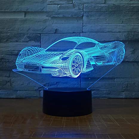 LED Cool Sports Car Shape 3D Luz Nocturna USB Botón Táctil Lámpara ...