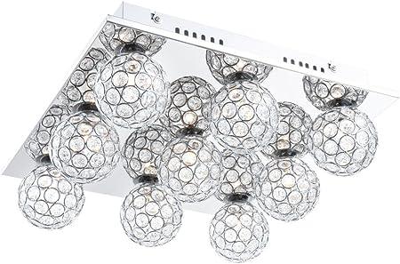 Deckenleuchte Deckenlampe quadratisch Chrom 9 flammig