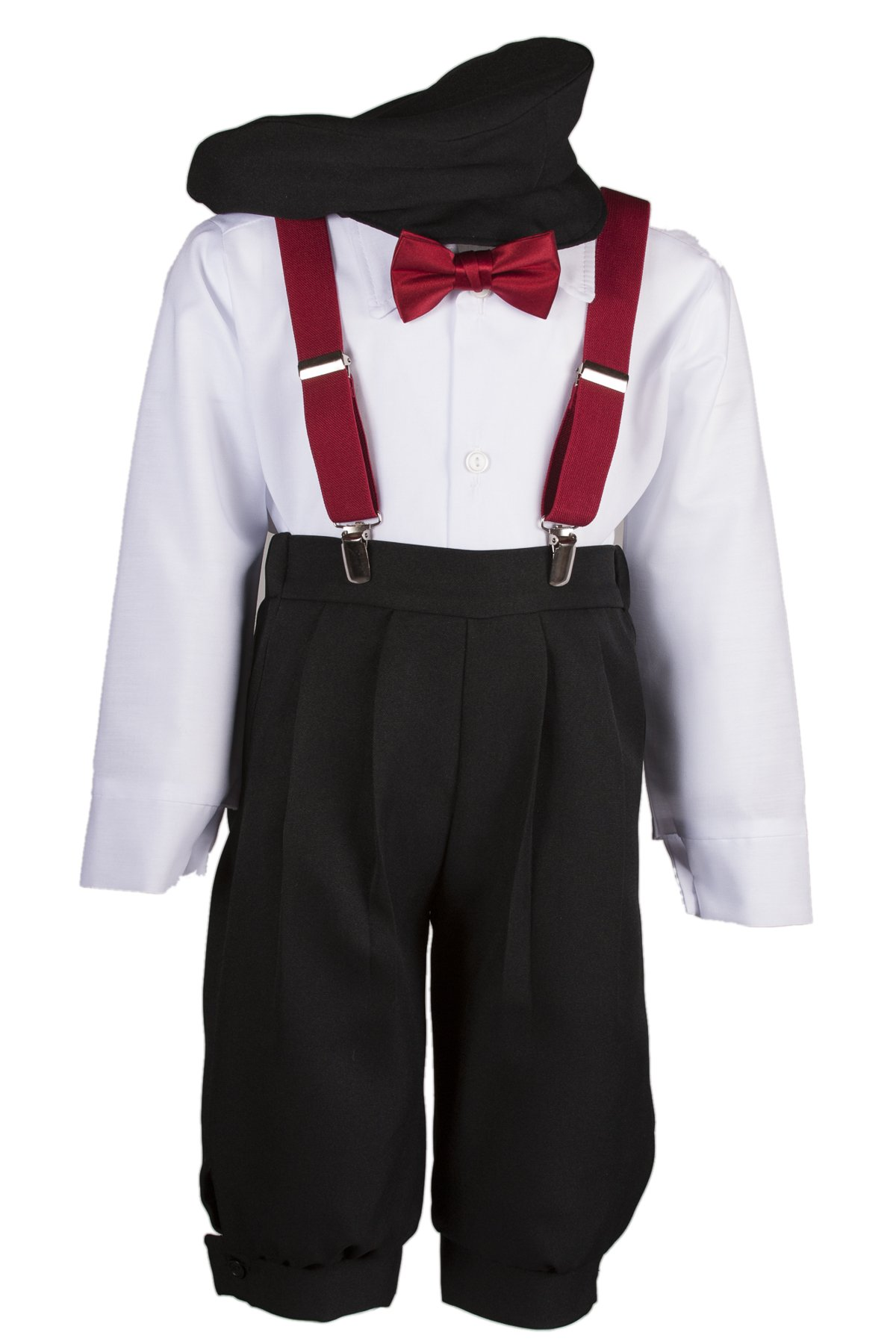 Boys Black Knicker Set with Apple Suspenders and Apple Bow Tie (Boys 5)