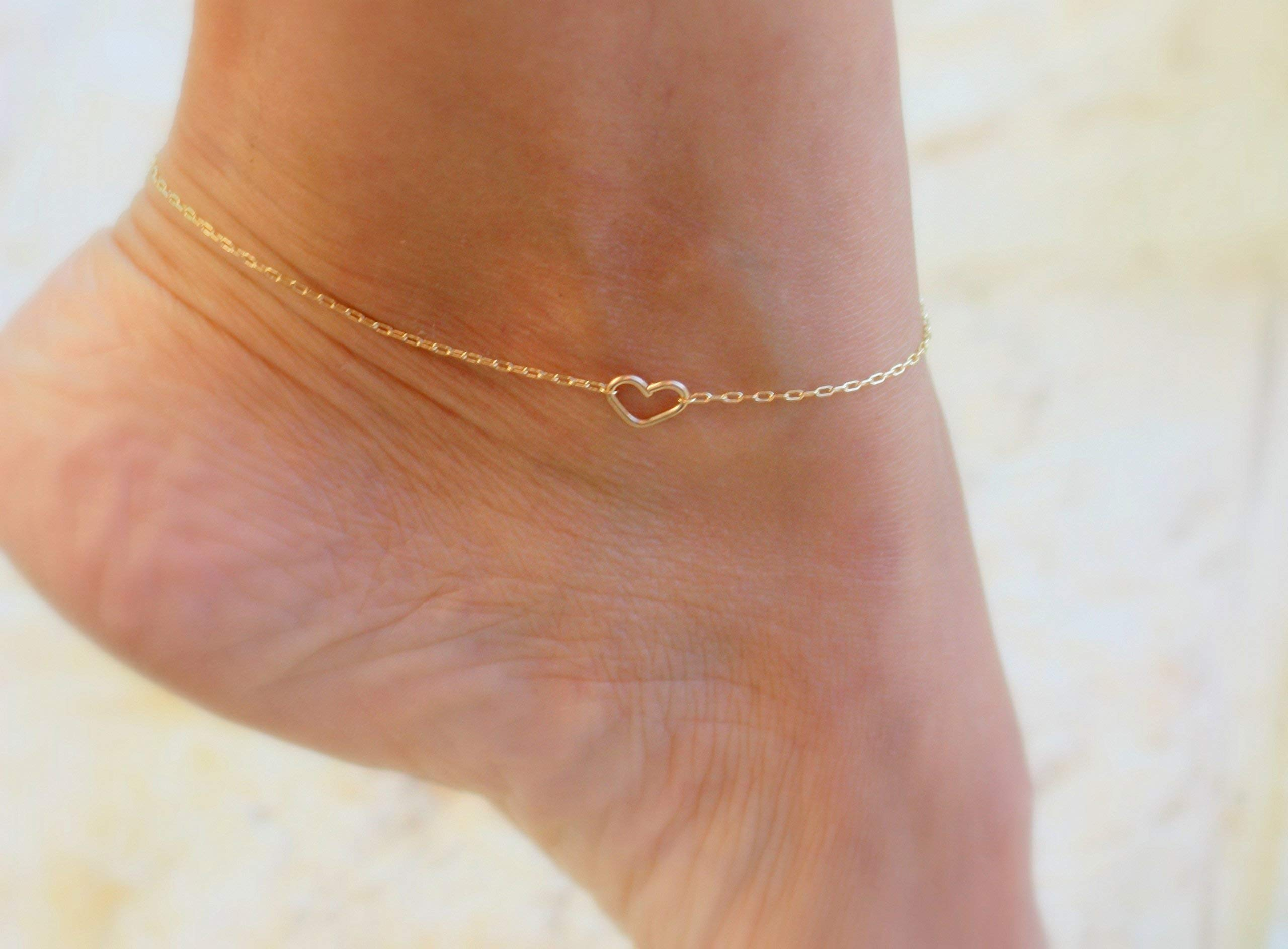 Simple Heart Ankle Bracelet Chain for Girls - Beach Foot Sandal Jewelry Fashion
