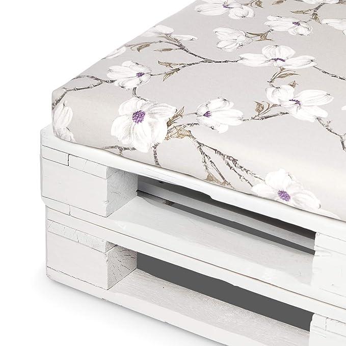 SUENOSZZZ - Conjunto colchoneta para Sofas de Palet y Respaldo (1 x Unidad) Cojin Relleno con Espuma. Loneta HP Izumi Floral   Cojines para Chill out, ...