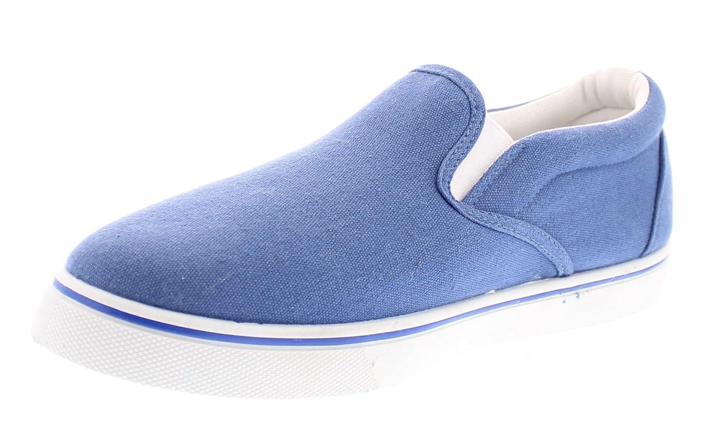 Doug Mens Canvas Sneakers,Casual Slip On Deck Shoes,Boat Loafer,Memory Foam Sneaker Walking Shoe for Men 11 W US|Medium Blue