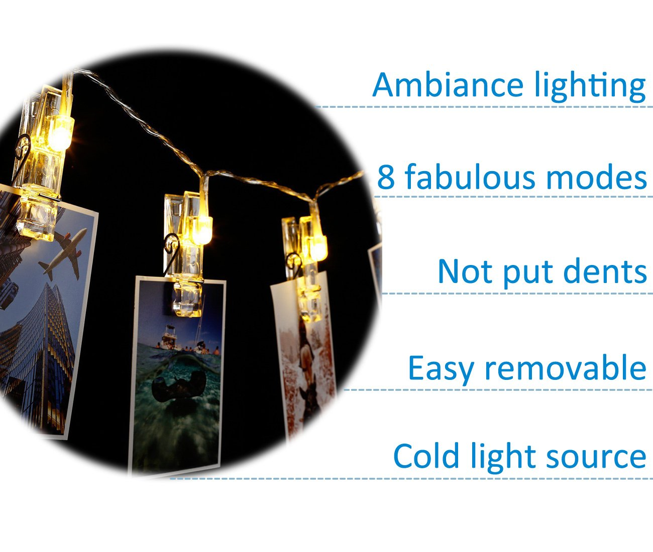 40 LED Photo Clips String Lights – 8 Modes Wall Hanging Clothespin Picture Display Peg Card Holder, Girl Back to School Dorm Room Décor Essential, Birthday Party Halloween Christmas Decorations Gifts by HappyDoggy (Image #4)