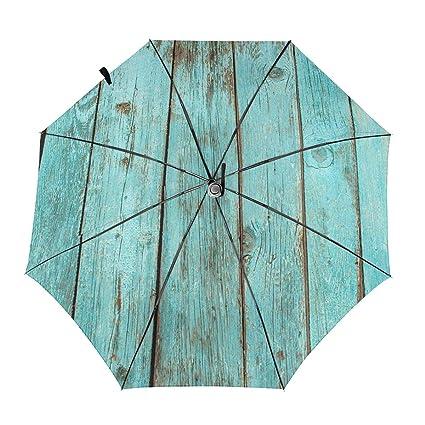 Travel Umbrella Compact Sun//Rain Automatic Foldable Umbrella Design with Woods Pattern Windproof Rainproof