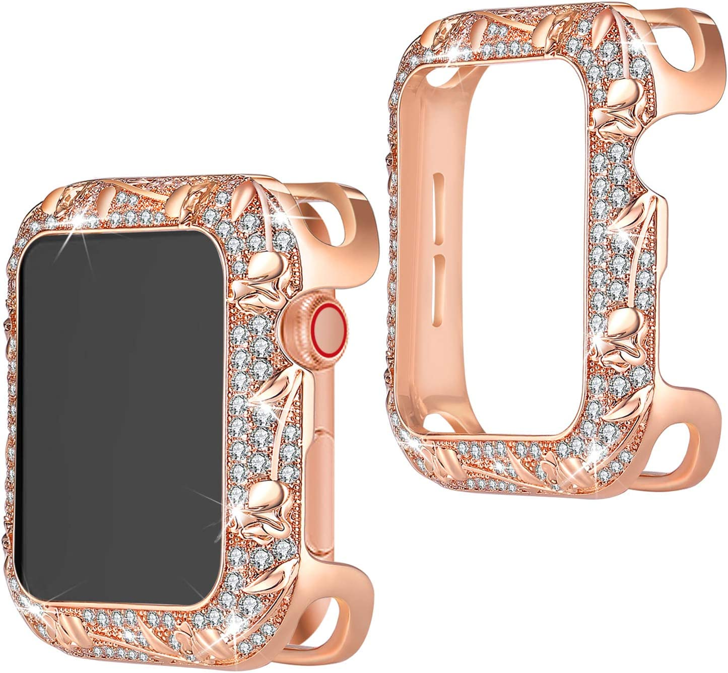 TOMAZON Bling Case Compatible for Apple Watch 40mm SE Series 6 5 4, Stainless Metal Floral Carved Shiny Jewelry Crystal Diamond Protective Cover Bumper Case for Women Girl, Rose Gold