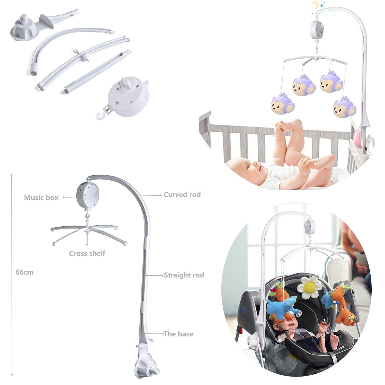 Baby Crib Mobile Bed Bell Holder Music Box Holder Arm Bracket Baby Bed Stent Set Mobile Hanger Set for Baby Bed Mobile Bed