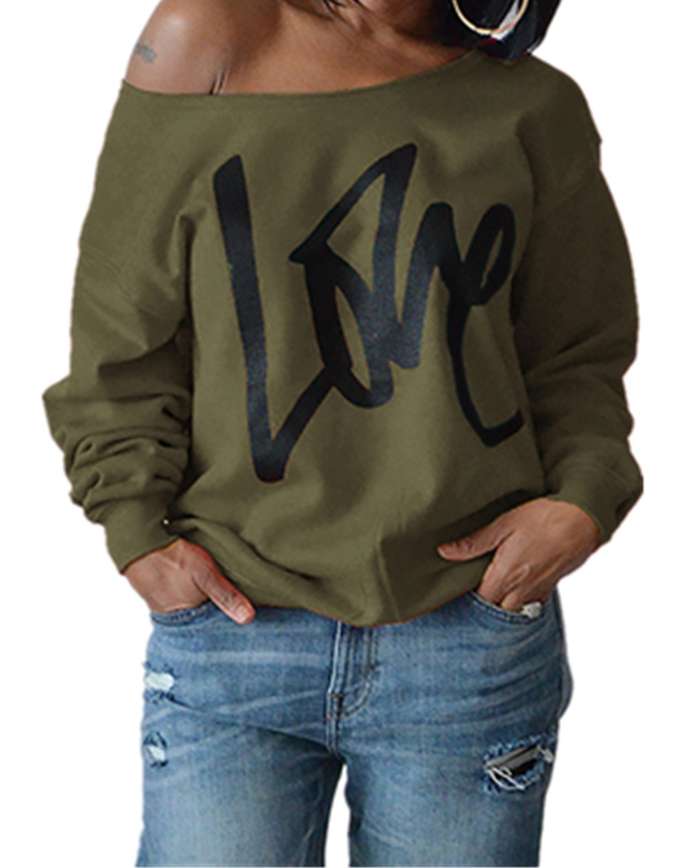 Yanekop Womens Love Sweatshirt Letter Print Off The Shoulder Slouchy Pullover(Army Green,L)