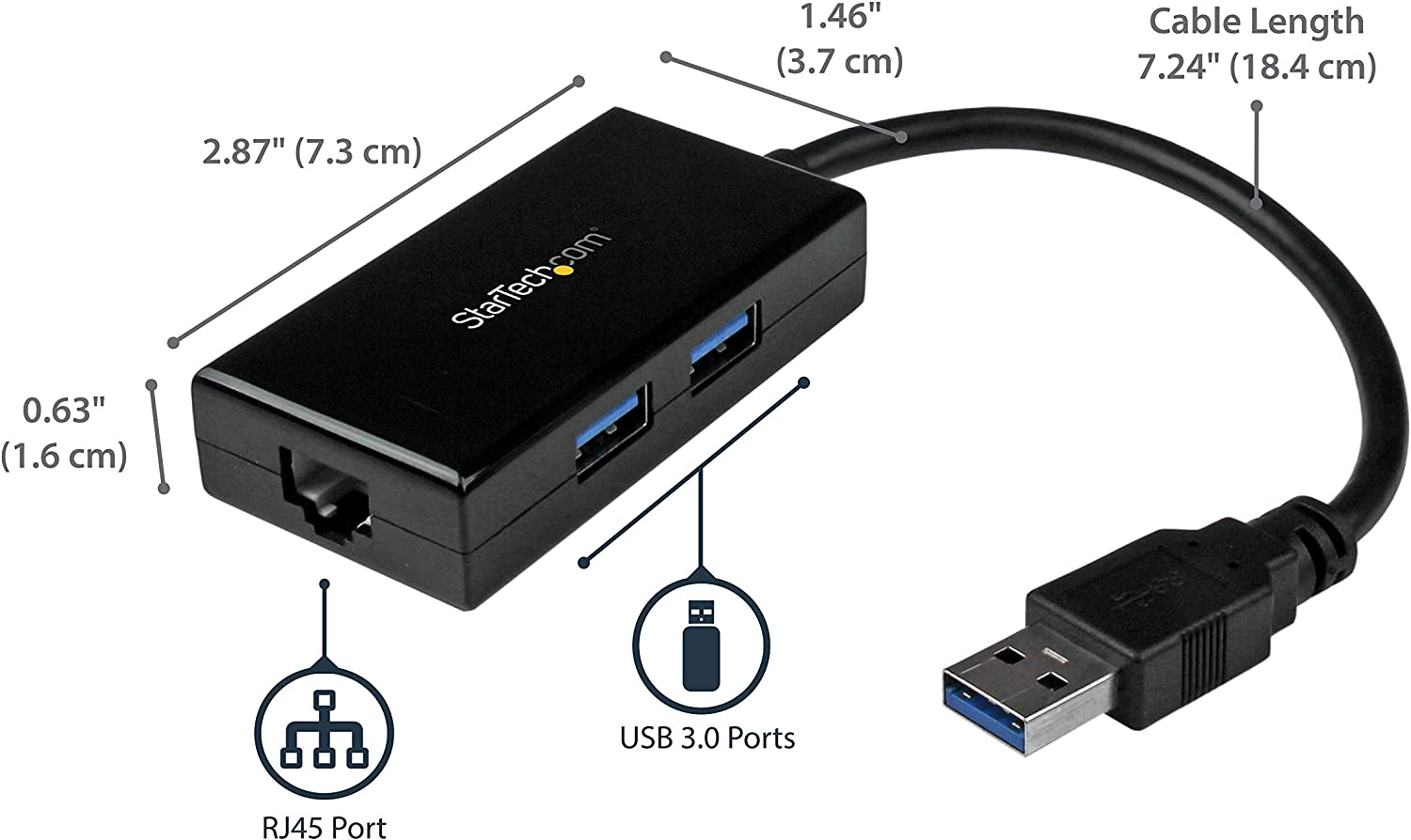 USB Network Adapter,LAN Adapter with Multi USB 3.0 Ports Compatible with The Toshiba Dynabook Port/ég/é X30 Broonel USB Ethernet