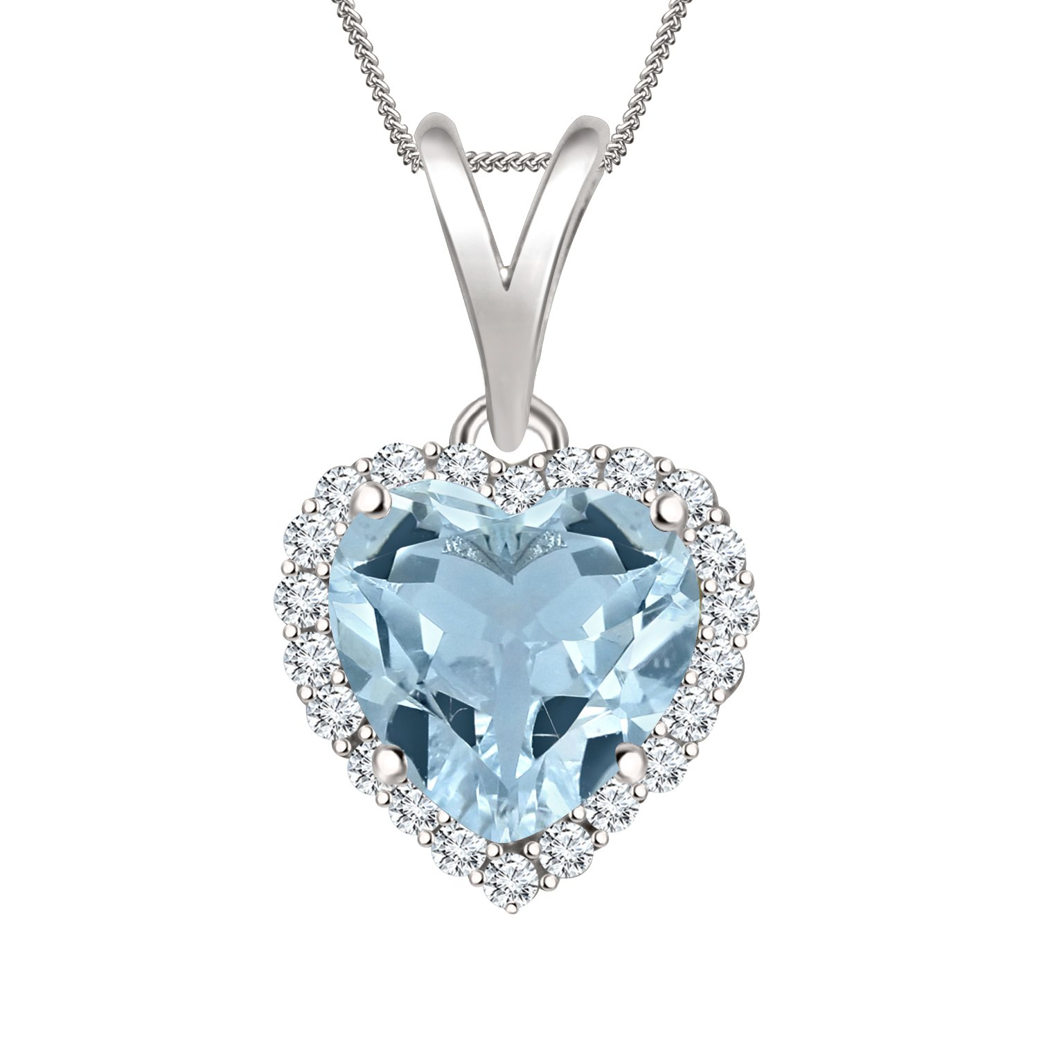 Shakti Jewels Color CZ Heart Halo Pendant Necklace Chain in Sterling Silver 14K White Gold Over