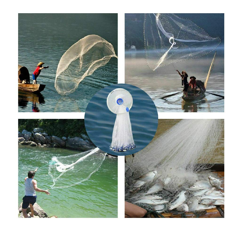 JinJin Folded Fishing Net Trap, Portable Zipper Bait for Shrimp Carp Crayfish Crab Baits Cast Mesh Trap Easy Throw Bait Nylon Mesh 240CM Summer Popular (white) by Jinjin