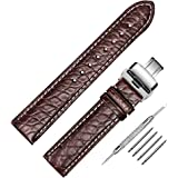Genuine Crocodile Leather Watch Band Brown Interchangeable Watch Strap Quick Release Deployment Butterfly Buckle with Spring Bar and Spring Bars Bonus 18mm/19mm/20mm/21mm/22mm/24mm