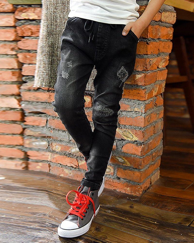 Zixing Ninos Chico Cremallera Stretch Pantalon Slim Jeans Rotos Pantalones Vaqueros Agujero