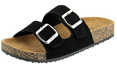 029032db697d38 Anna Shoes Women s Strappy Buckle Cork Sole Slide Sandal (6 B(M) US