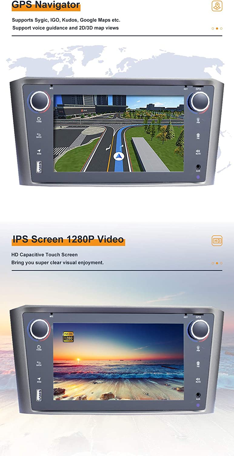 4G WiFi//DAB BOOYES F/ür Toyota Avensis T25 2002-2008 Android 10.0 7 Auto Multimedia GPS-Navigation Auto Radio Stereo Support Auto Auto Play//TPMS//OBD