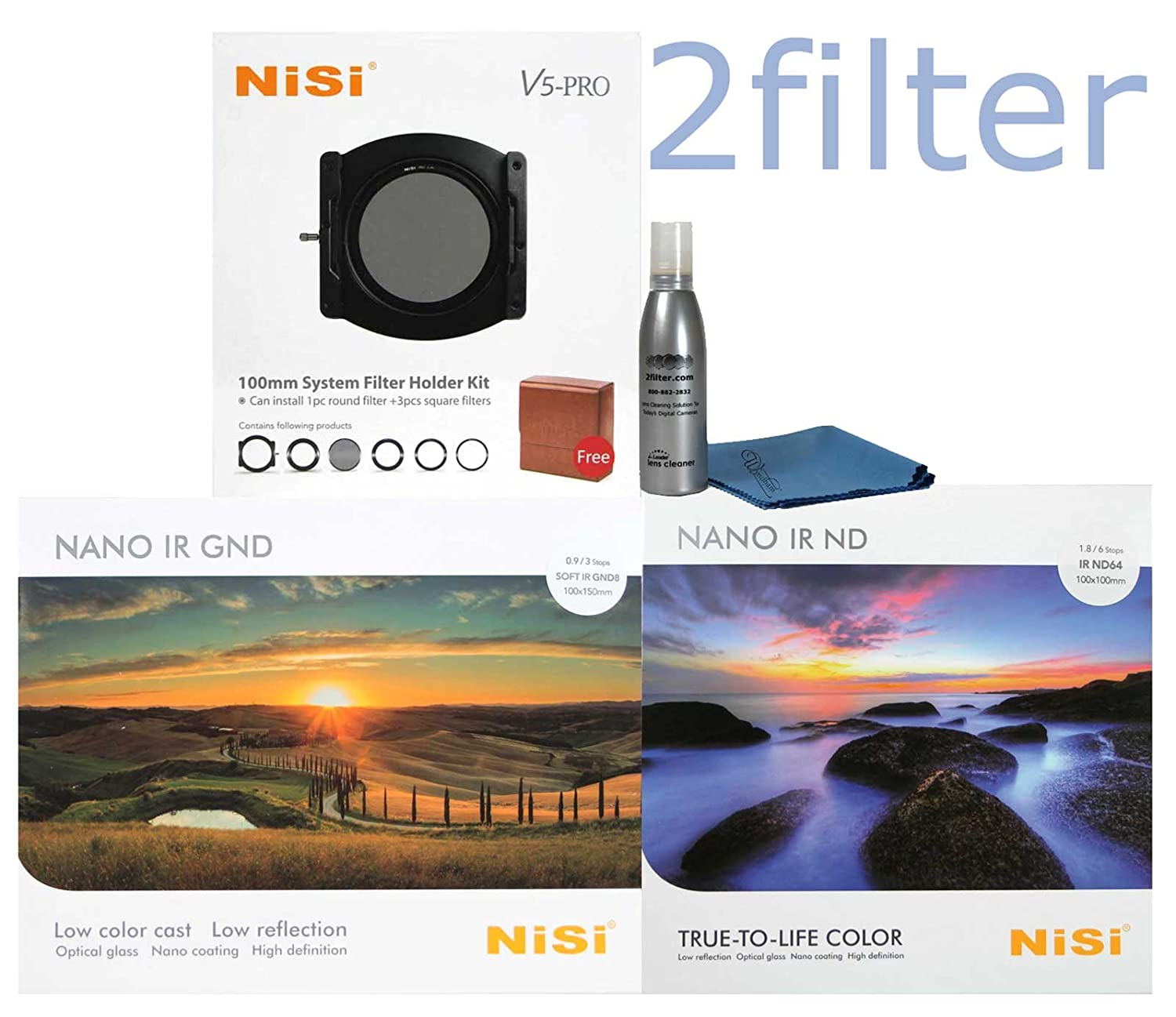 Amazoncom Nisi V5 Pro 100mm Starter Kit Includes Holder Aluminium Filter Glass 4x6 Multi Coated 09 Soft Edge Grad Nd And 4x4 Multicoated Ir Nd64 6 Stop