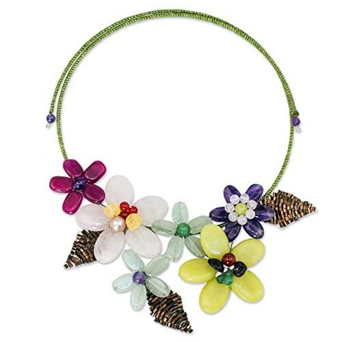 NOVICA Multi-Gem Cultured Freshwater Pearl Beaded Choker, 15 , Purple Yellow Bouquet