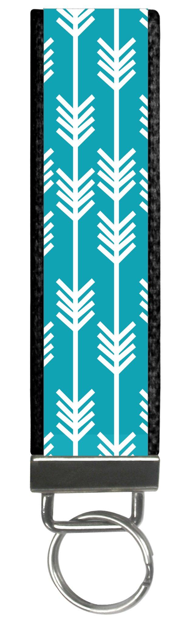 Trendy Teal Arrow Boho Design Wristlet Keyfob Keychain One Size