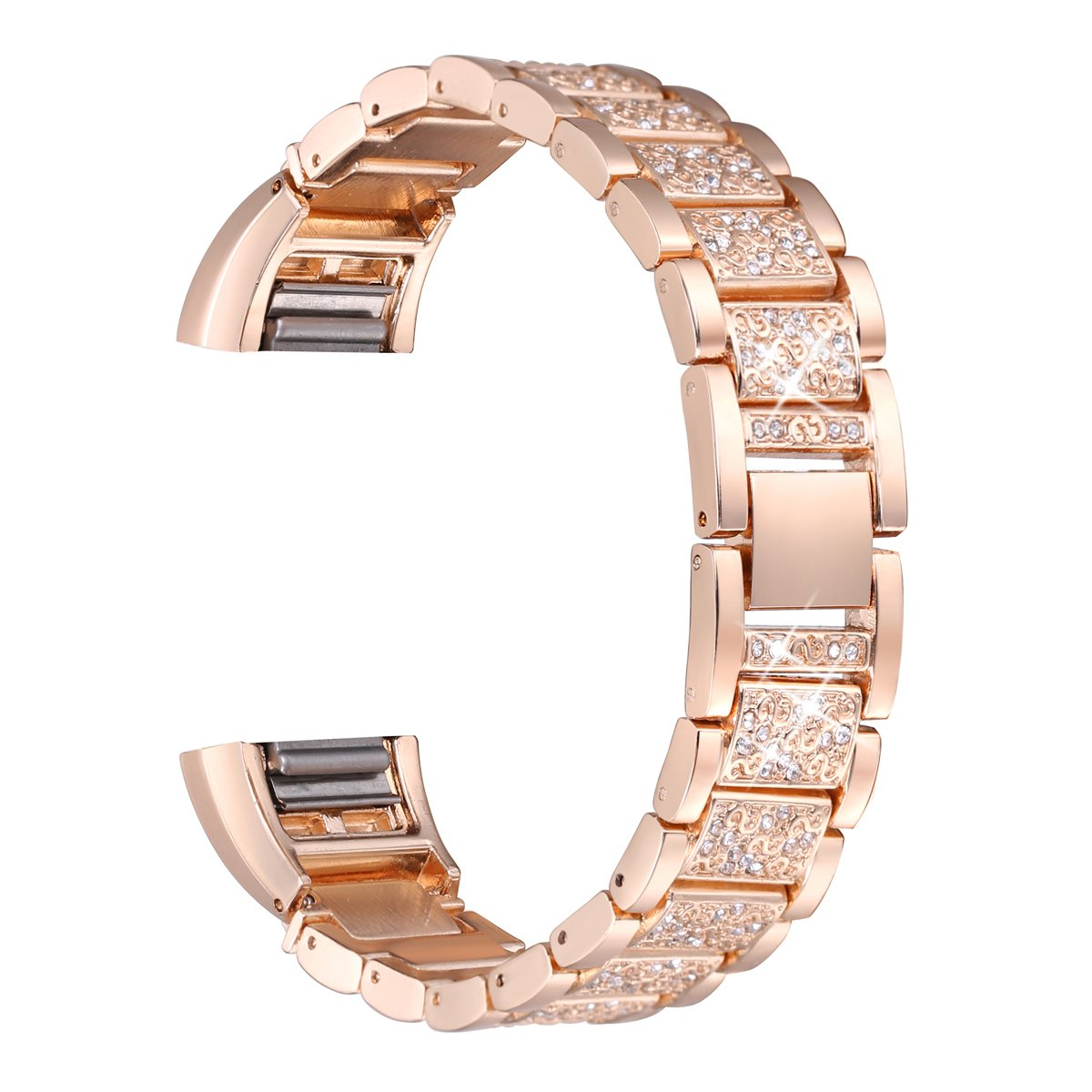 bayite For Fitbit Charge 2, Replacement Metal Bands with Rhinestone Fitbit Charge2 Bling Bands Rose Gold Bracelet