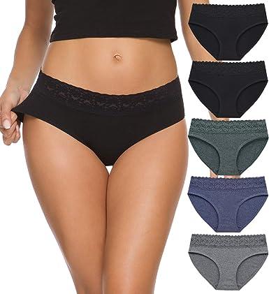 Womens Underwear Cotton Panties for Women Underpants Briefs Hipster Lace Bikini Pack