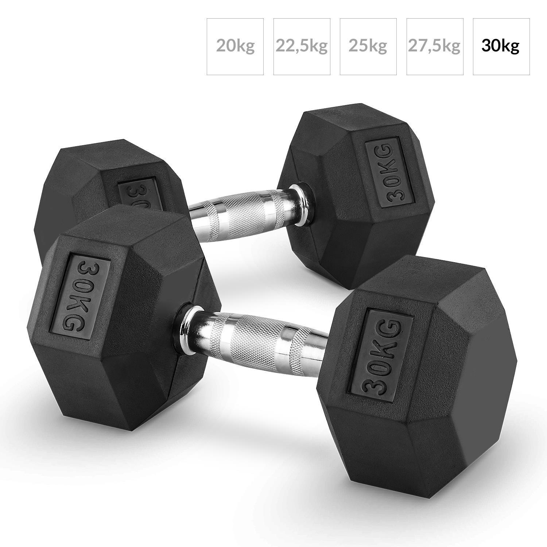 Capital Sports Hexbell Mancuernas gimnasio pesas de mano corta (peso 30kg, cabezales hexagonales, revestimiento goma dura para proteccion golpes en el suelo ...