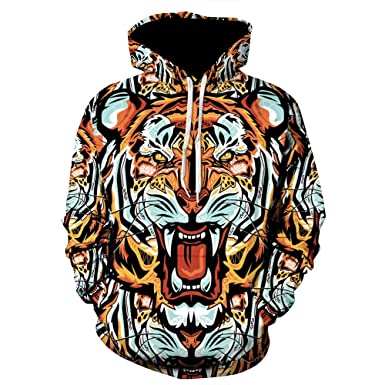 Sylar Sudaderas Hombre Tendencia De Moda Estampado De Tigre 3D con Capucha Manga Larga Suelto Bolsillo Outwear Jersey Casual Pullover: Amazon.es: Ropa y ...
