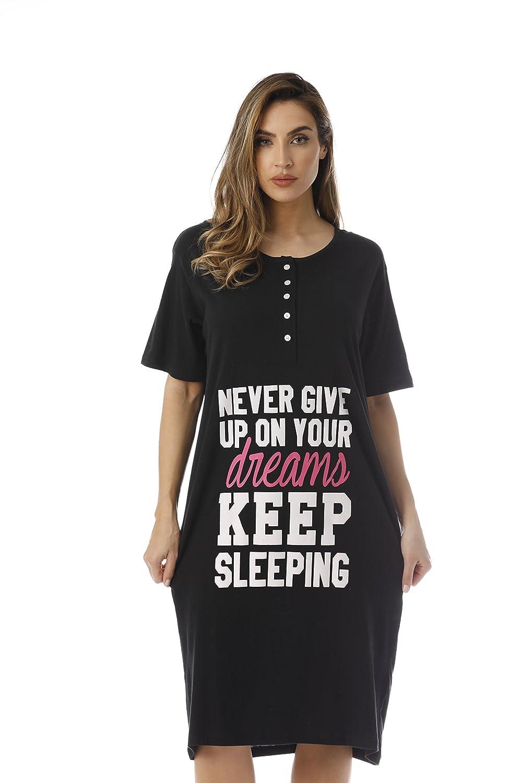 40c6a3d599d1 Just Love Short Sleeve Nightgown Oversized Screen Print Sleep Dress Women  at Amazon Women s Clothing store