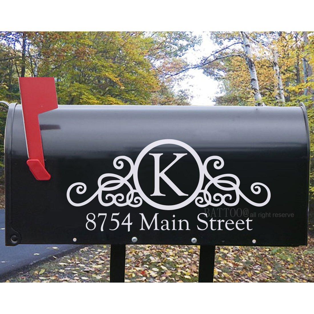 Battoo custom mailbox address vinyl decal stickers 10 w 4 5 h mail box vinyl numbers mailbox curb appeal mailbox decals house numbers home address plus