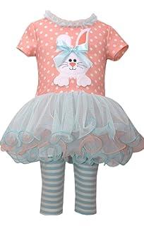 82c090ab9fb Bonnie Jean Holiday Bunny Easter Spring Girls  Appliqued Skirt Dress Set