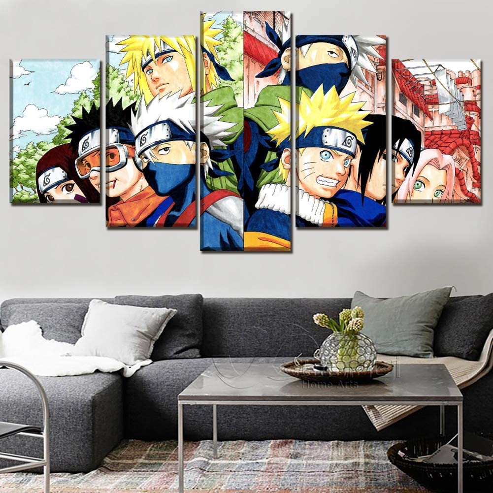 Naruto 5 Piece Abstract Soul of Characters Picture Canvas Wall Art Unframed for Home Wall Decor,30x40x2+30x60x2+30x80x1