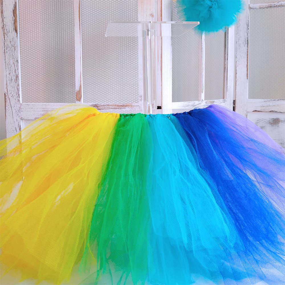 Supla 9 Colors Rainbow Tulle Rolls Tulle Netting Rolls Tulle Fabric Spool Ribbon 6'' Wide 25 yards/spool and Sewing Scissors Body Measuring Ruler for Table Skirt Rainbow Party Tulle Skirt Dress by Supla (Image #3)