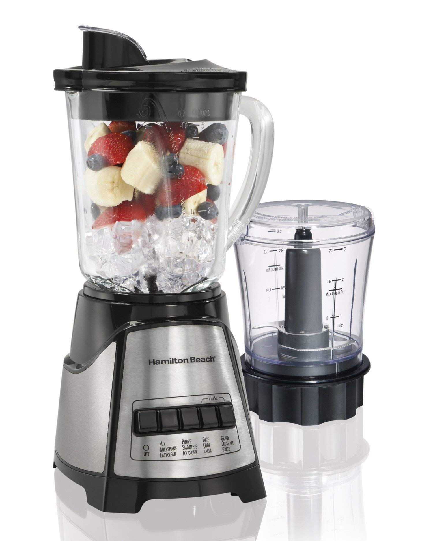 Hamilton Beach Power Elite Electric Blender with 12 Blending Functions, Dishwasher Safe Glass Jar, 40 Oz, Black and…