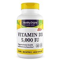 Healthy Origins Vitamin D3 5, 000 IU (Non-GMO), 360 Softgels