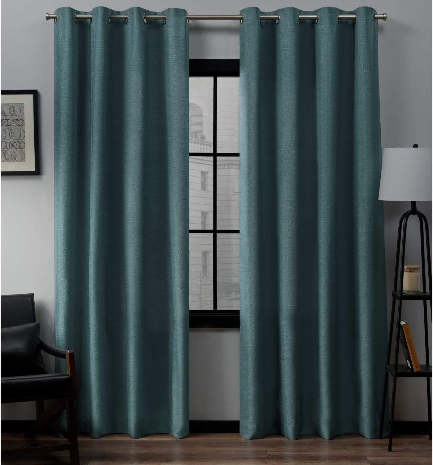 Exclusive Home Curtains Loha Linen Grommet Top Curtain Panel Pair, 54x96, Blue Teal