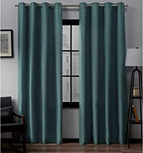 Exclusive Home Curtains EH8092-08 2-108G Loha Linen Grommet Top Curtain Panel Pair, 54x108, Blue Teal