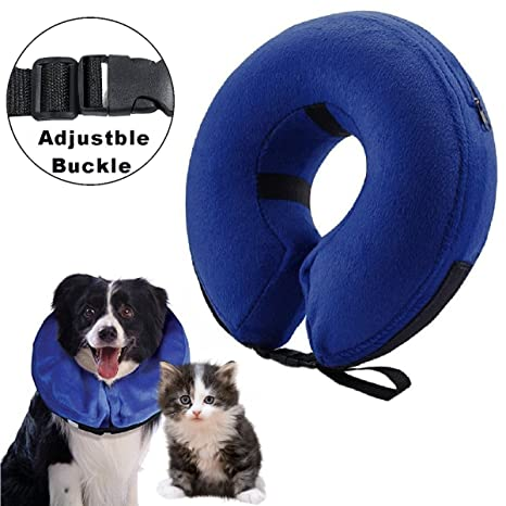 Collarín hinchable para perros y gatos, cono protector para mascotas, para su recuperación tras