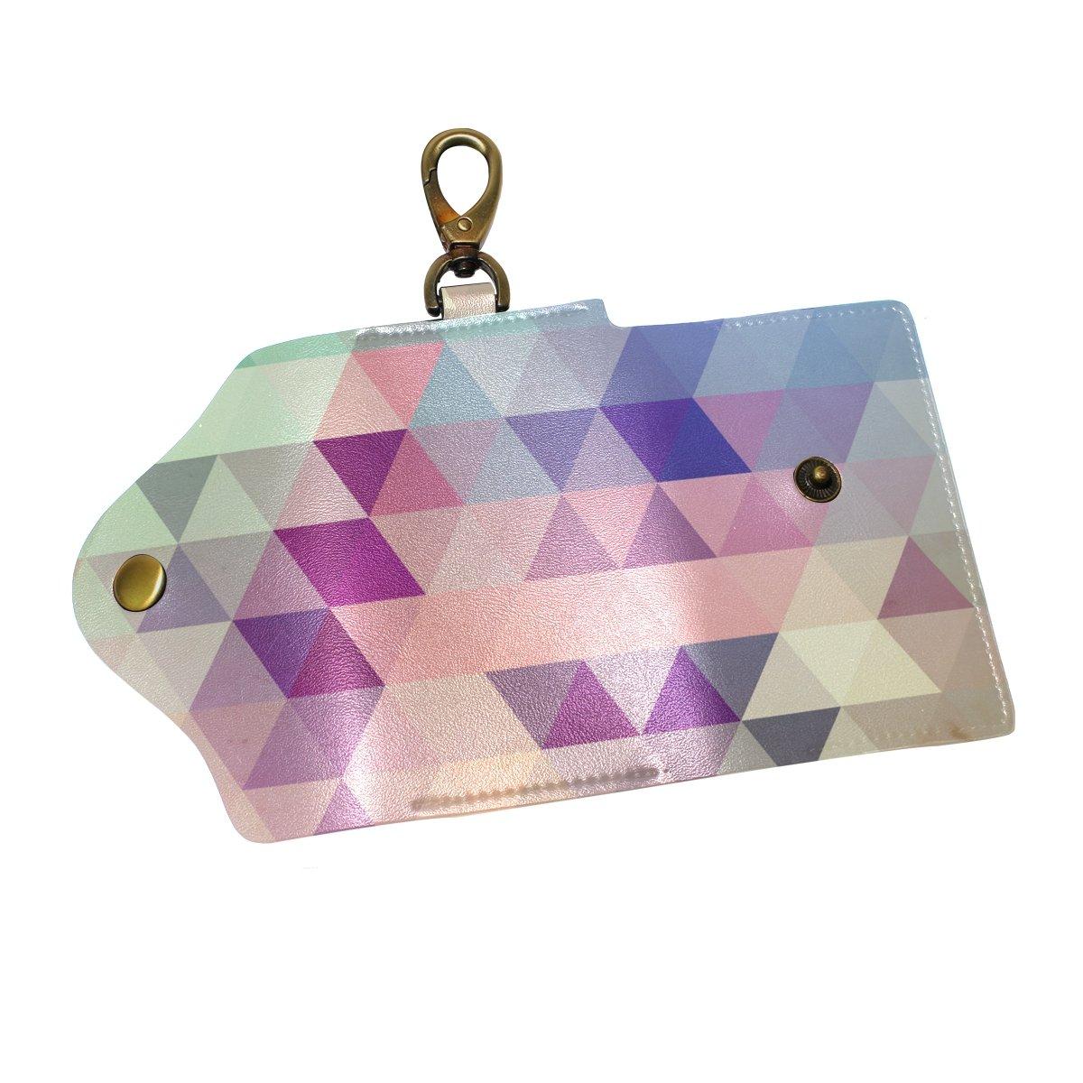 DEYYA Abstract Background Leather Key Case Wallets Unisex Keychain Key Holder with 6 Hooks Snap Closure