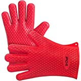 X-Chef Silicone Gloves Heat Resistant Oven Mitts for Kitchen Cooking BBQ Baking