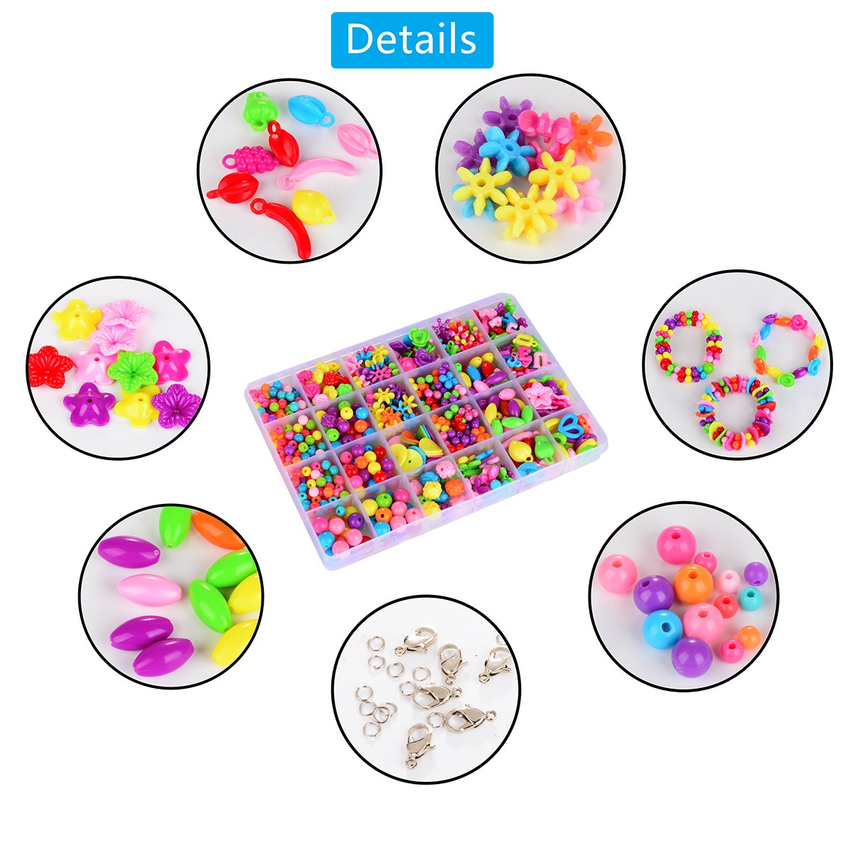 Licien Sunshine DIY Beads Set with Different Types and Shapes of Colorful Acrylic Jewelry Beads in a Box for Children Necklace and Bracelet Crafts gift Best DIY Beads Toys for children 4th to 12 By